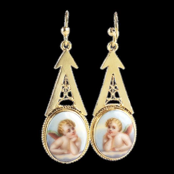 A pair of Cherub Gold Drop Earrings - image 1