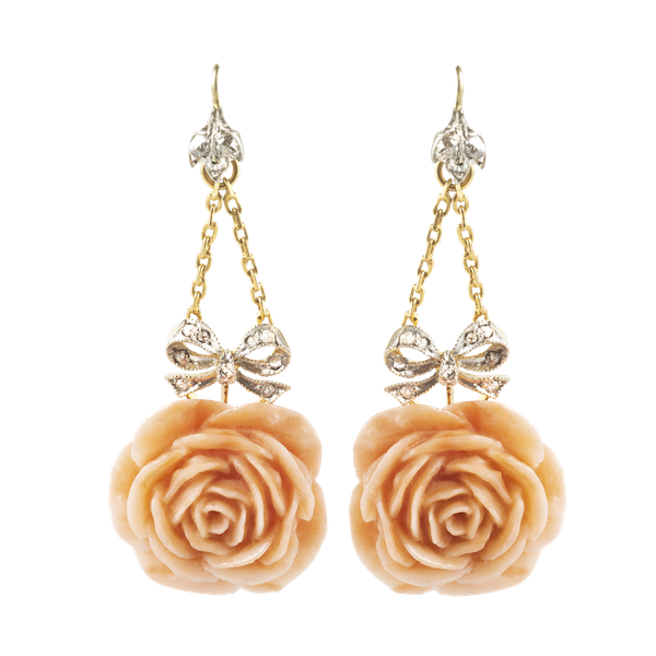 A pair of Coral Rose Gold Drop Earrings - image 1