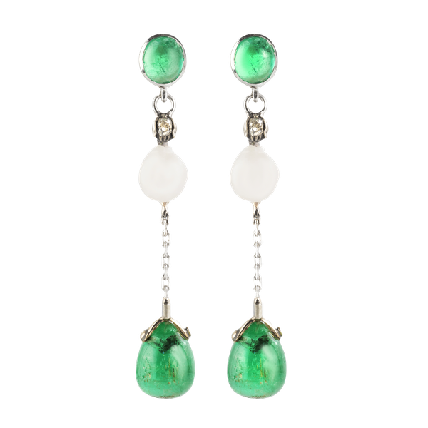 A pair of Emerald Cobachon and Natural Pearl Drop Earrings - image 1