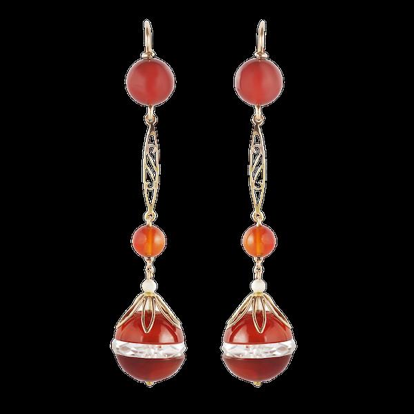 A pair of Carnelian Rock Crystal Gold Drop Earrings - image 1
