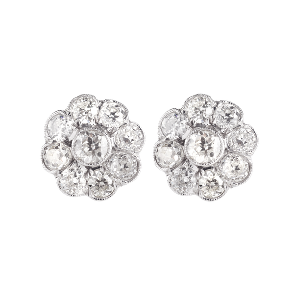 A pair of Diamond Cluster Stud Earrings - image 1