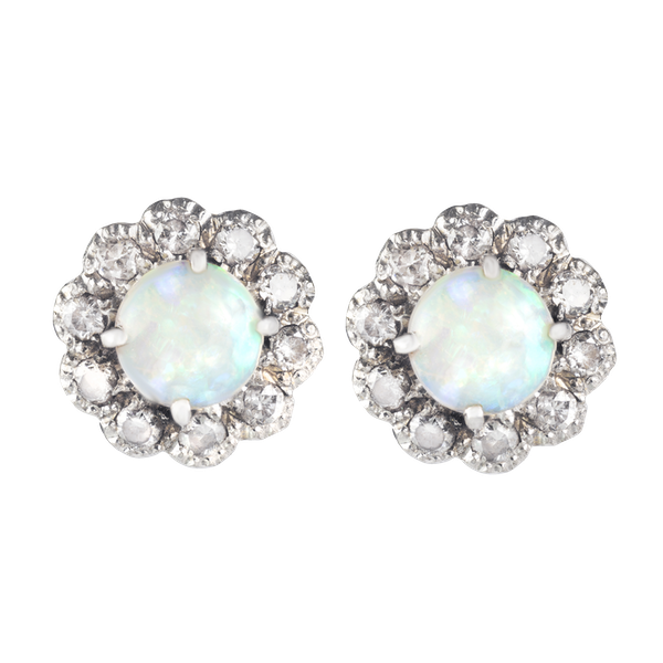 A pair of Opal Diamond Stud Earrings - image 1