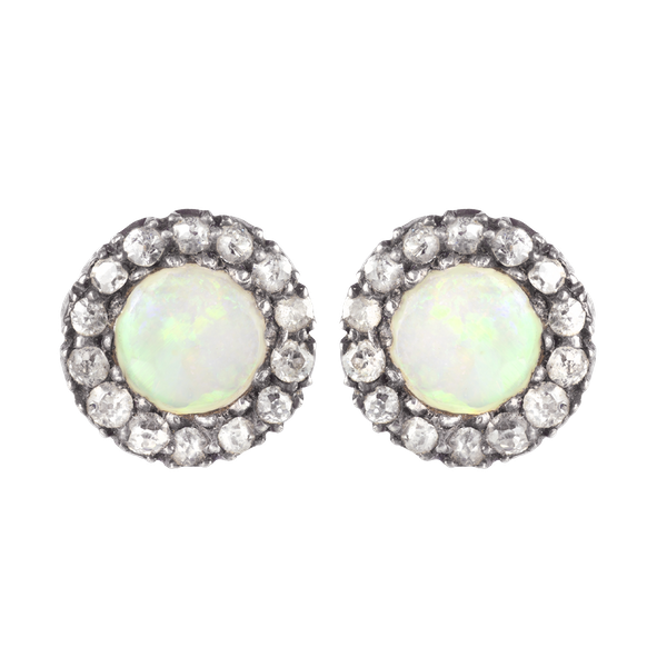 A pair of Opal Diamond and Gold Stud Earrings - image 1