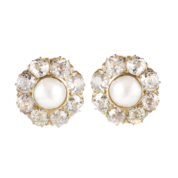 A pair of Pearl, Diamond, and Gold Stud Earrings - image 1