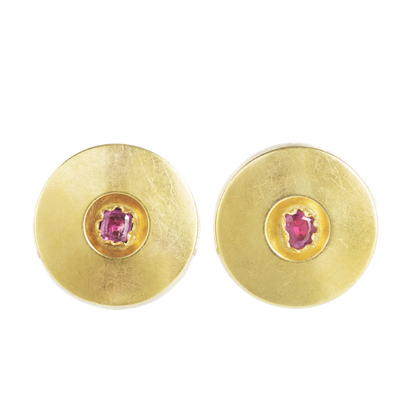 A pair of Gold Ruby disc earrings - image 1