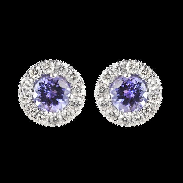 A pair of Tanzanite and Diamond Earrings - image 2