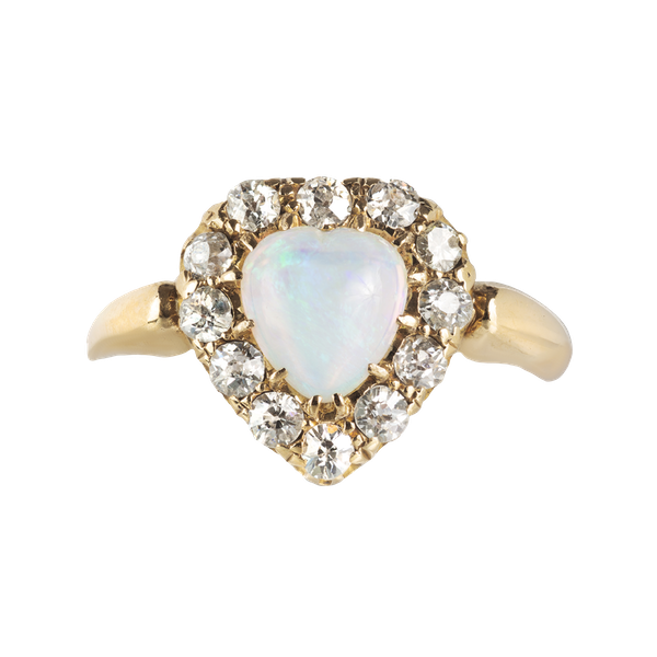 An Opal and Diamond Heart Ring - image 1
