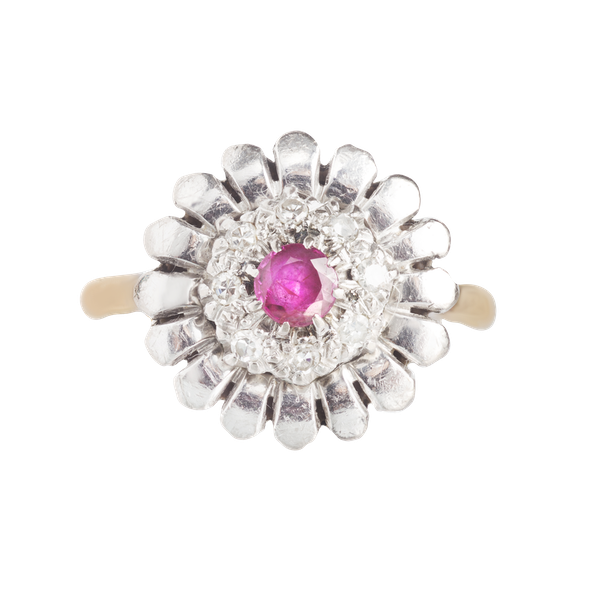 A Diamond, Ruby, Platinum and Gold ring - image 1
