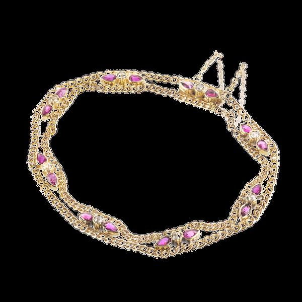 A Ruby and Diamond Gold Bracelet - image 1