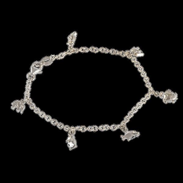 An Italian Gold and Diamond Animal Charm Bracelet - image 1