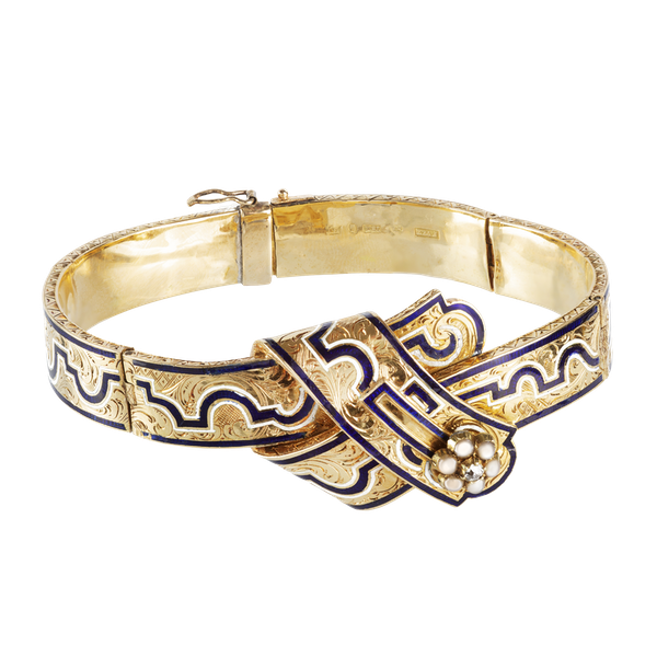 A Black Enamel Pearl Diamond Gold Bracelet - image 1