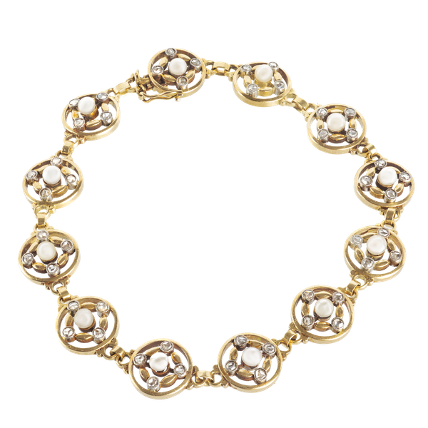 A French Diamond and Pearl Gold Bracelet - image 1