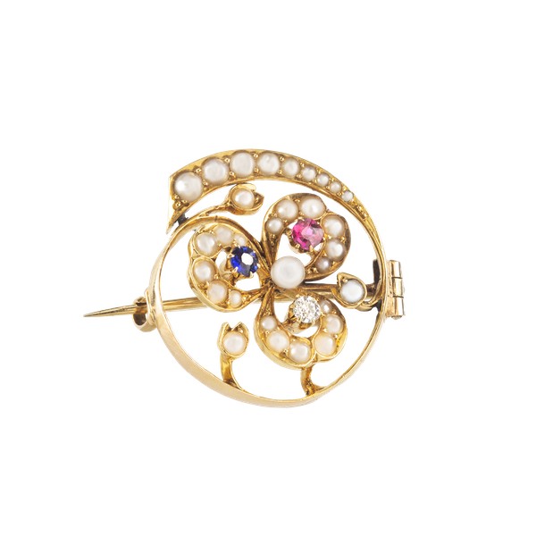 A Pearl Diamond Ruby Sapphire Brooch - image 1