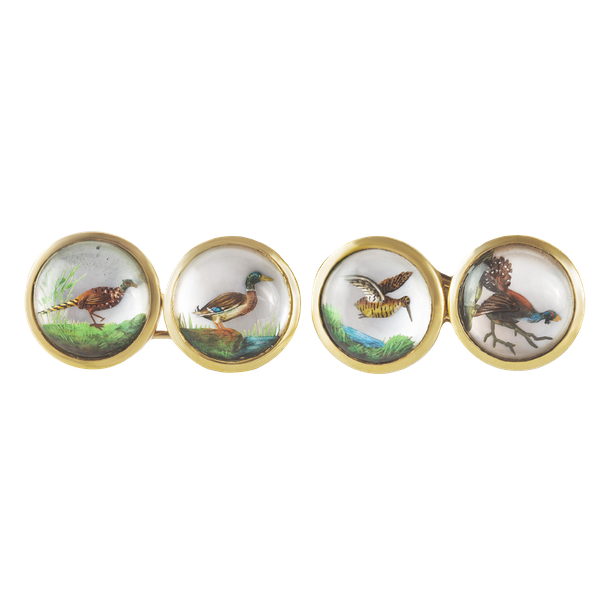 A pair of Gold & Rock Crystal Bird Cufflinks - image 1