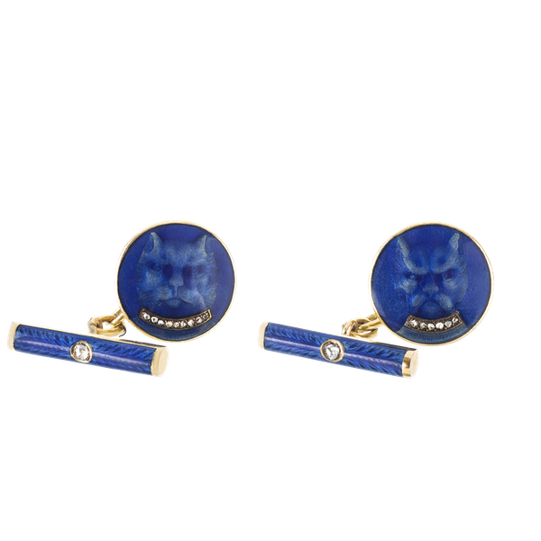 A pair of Blue Enamel Gold Cufflinks with Diamond Collars - image 1