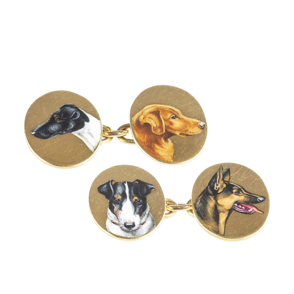 A pair of Gold Dog Cufflinks - image 1