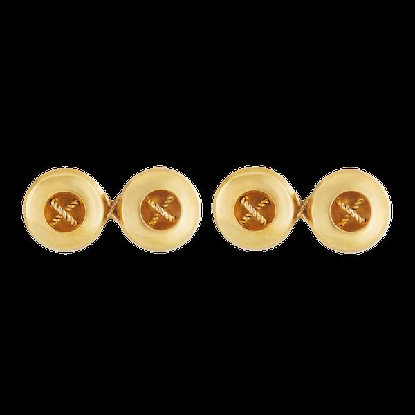 A pair of Gold Button Cufflinks - image 1
