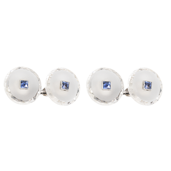A pair of Rock Crystal Sapphire Cufflinks - image 1