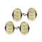 A pair of Silver Green Enamel Cufflinks - image 1