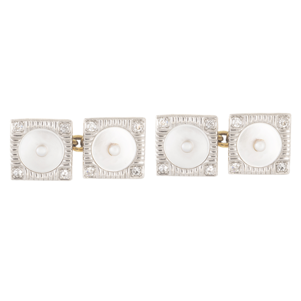 A pair of Square Pearl and Diamond cufflinks - image 1