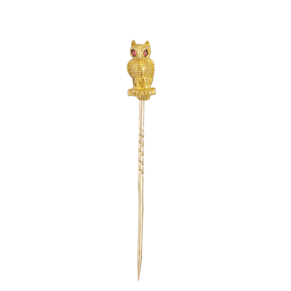 A Gold Owl Tie Pin with Ruby Eyes - image 1