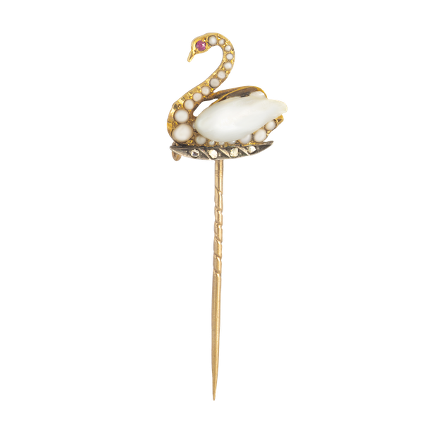 A Gold Swan Tie Pin with Ruby Eyes - image 1