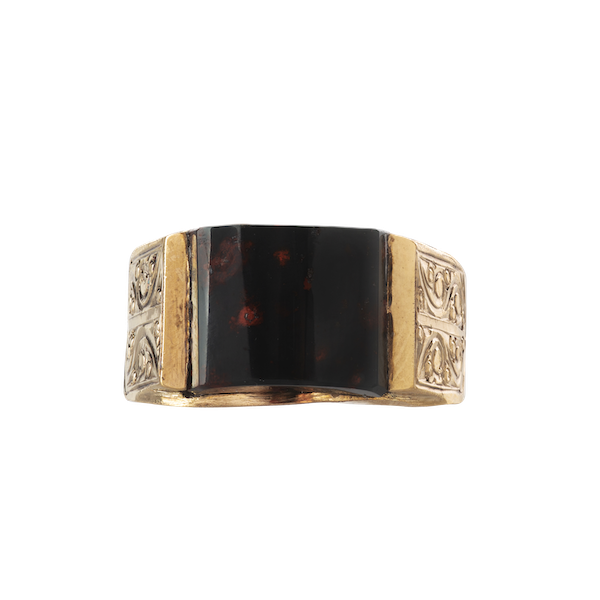 A Gold Bloodstone Ring - image 1