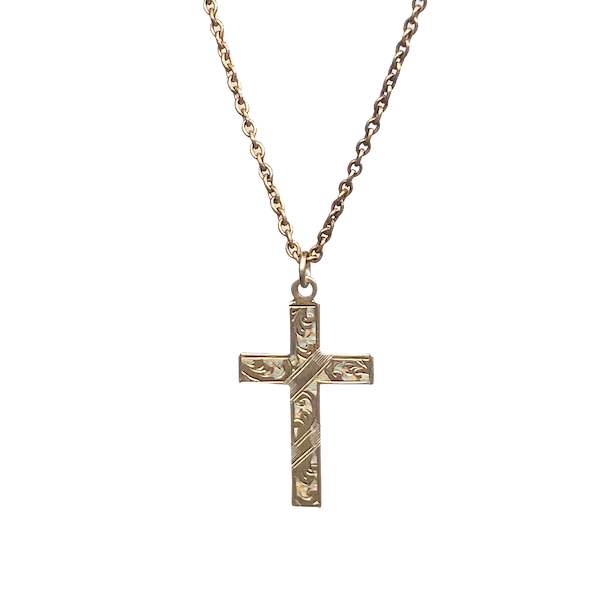 A Nine Carat Gold Cross and Chain - image 1