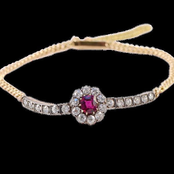 Ruby Diamond Bracelet in 18ct Yellow Gold & Platinum date circa 1905 SHAPIRO & Co since1979 - image 7