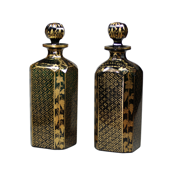 Pair of Bristol green glass decanters and stoppers, late 18th century - image 1