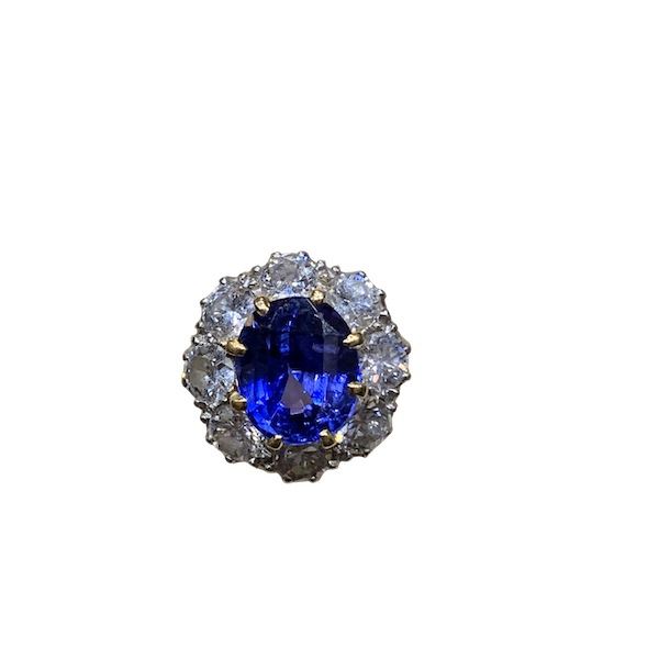 Fine natural Burma sapphire and diamond cluster ring - image 1