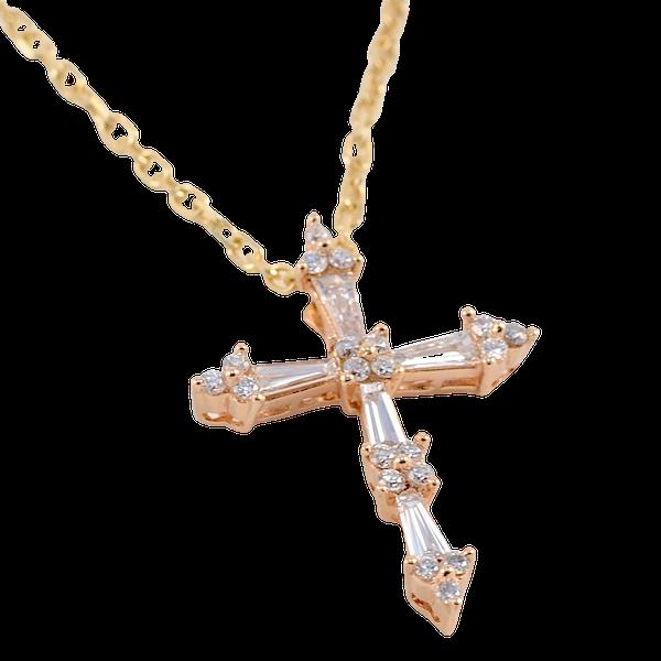 Diamond Cross in 18ct Rose Gold Date circa 1990 SHAPIRO & Co since1979 - image 1