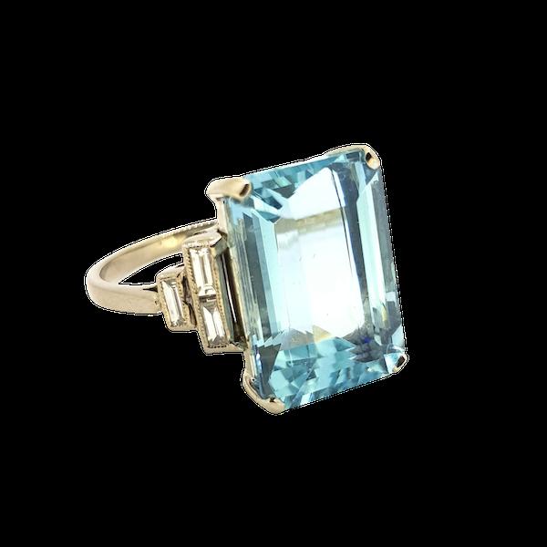 Art Deco Aquamarine ring - image 1