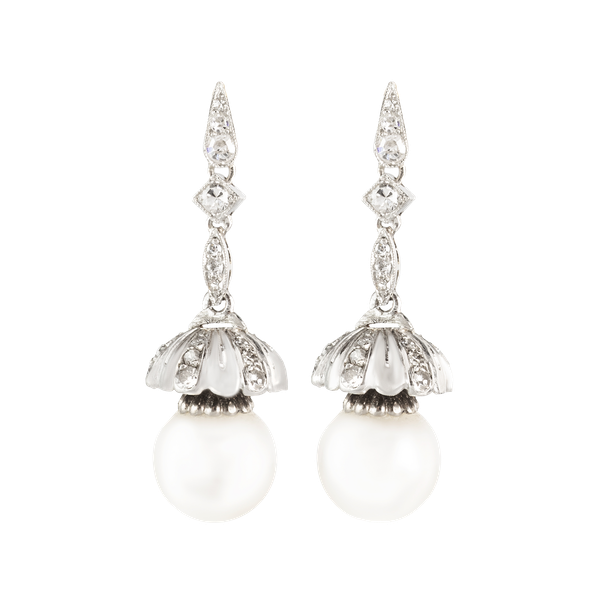 A pair of Pearl and Diamond Drop Tulip Earrings - image 1