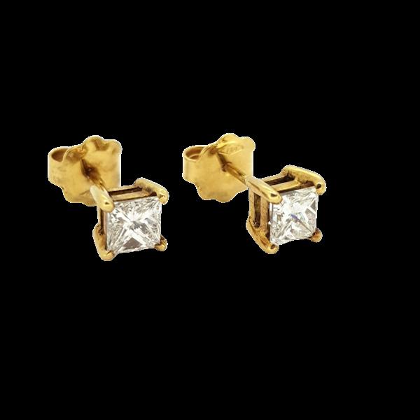 Princess Diamond Earrings Total weight 1.01ct - image 1