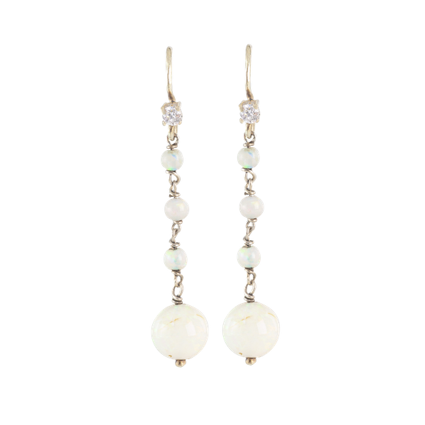 A pair of Diamond and Opal Drop Earrings - image 1