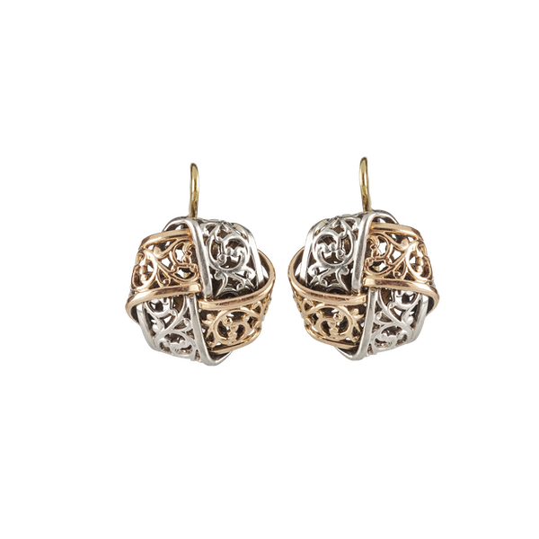 A Pair of Platinum and Gold Earrings - image 1