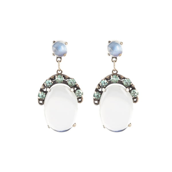 A Pair of Moonstone and Zircon Drop Earrings - image 1