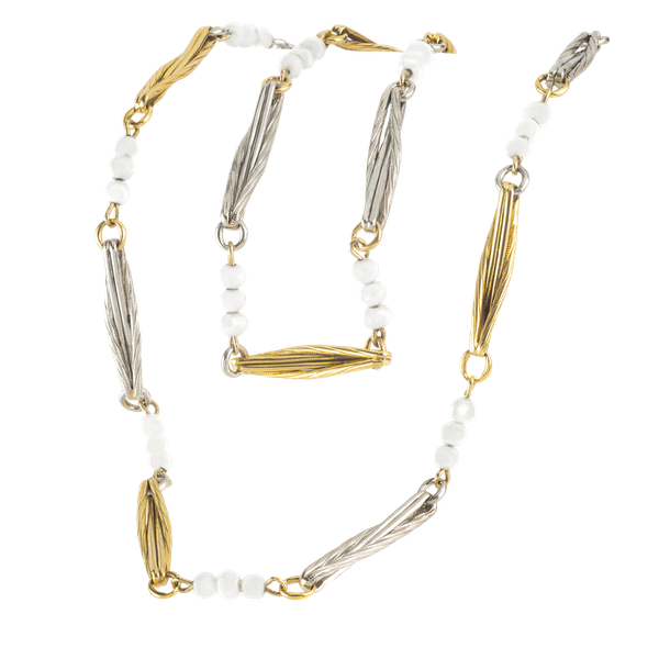 A Pearl, Platinum, and Eighteen Carat Gold Necklace - image 1