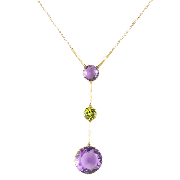 An Amethyst and Peridot Gold Necklace - image 1