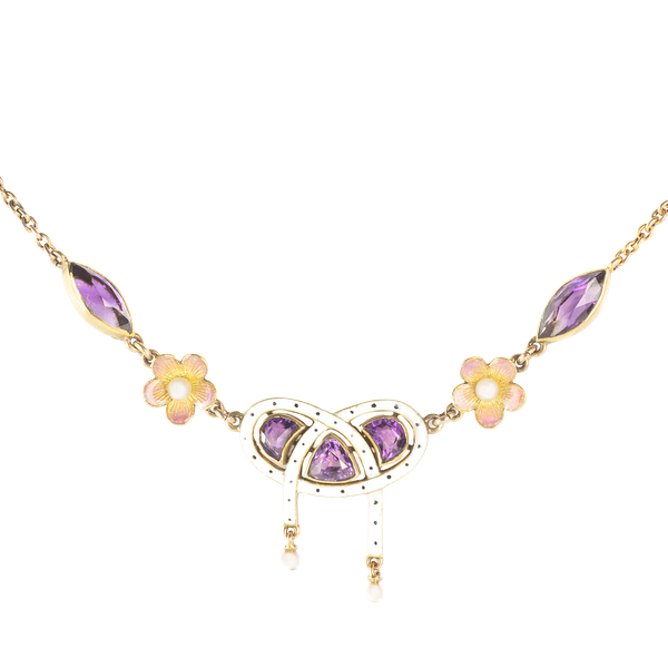 A Gold Amethyst Necklace - image 1