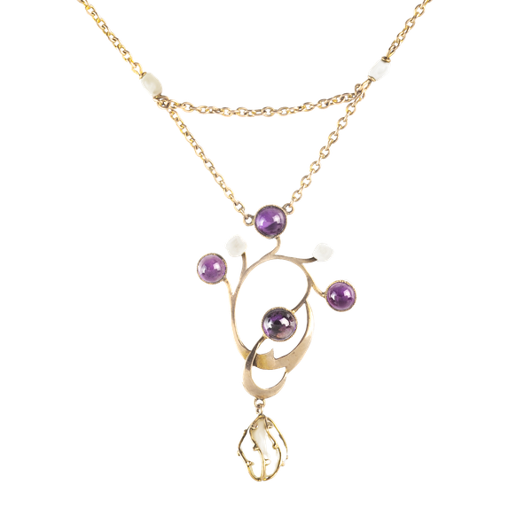 A Gold, Amethyst and Pearl Drop Necklace - image 1