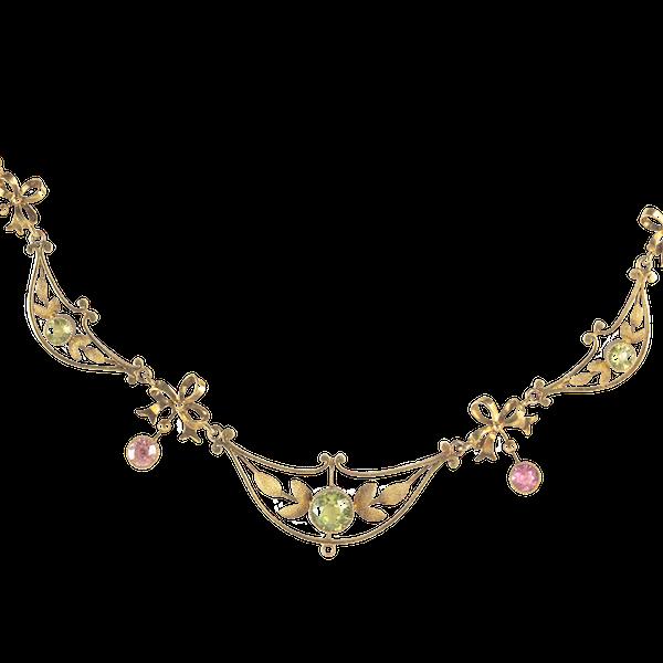 A Fifteen Carat Gold Peridot Tourmaline Necklace - image 1