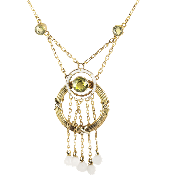 A Belle Époque Pearl and Gold Necklace by Barnet Henry Joseph - image 1