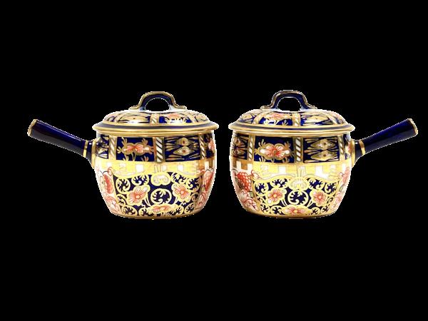 Pair of Royal Crown Derby miniature saucepans & covers - image 1