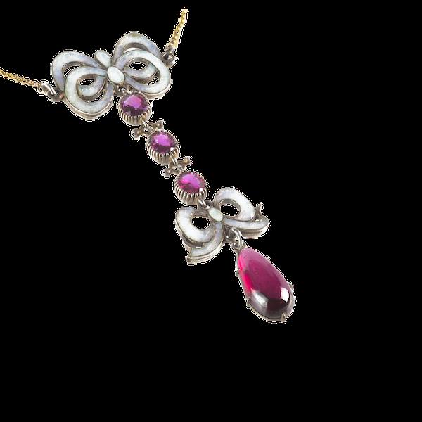 A Garnet Enamel Necklace - image 2