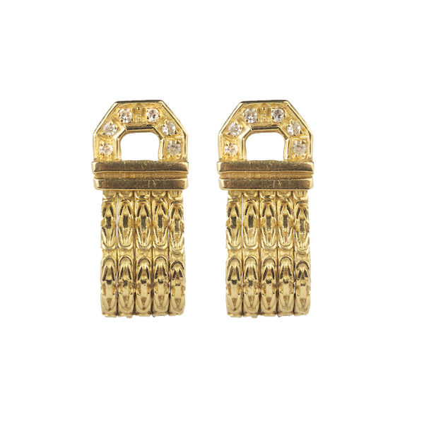 A pair of Gold Diamond Earrings - image 1