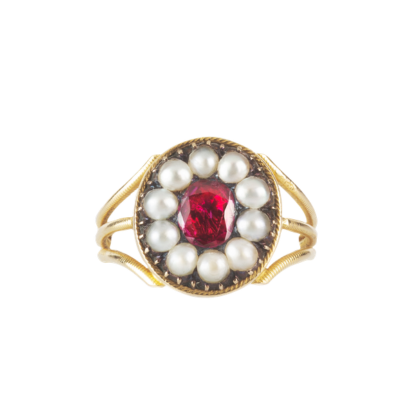 A Gold Ruby and Pearl Ring - image 1