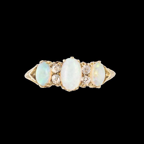 A Three Opal Diamond Ring - image 1