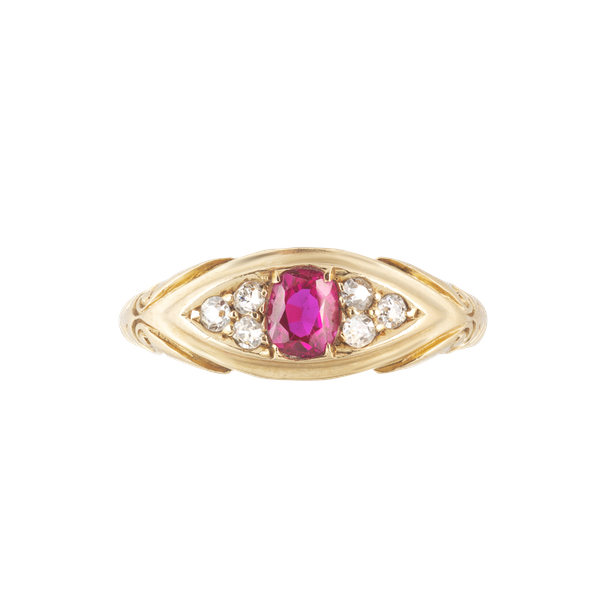 A Ruby Diamond Gold Ring - image 1